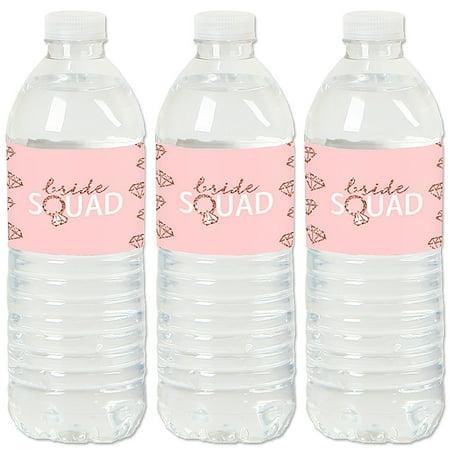 Bride Squad - Rose Gold Bridal Shower or Bachelorette Party Water Bottle Sticker Labels - Set of - Rose Bridal Shower