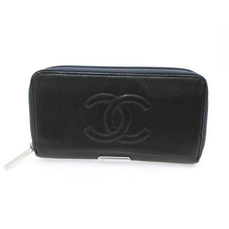 56a8d48c7544 CHANEL - Black/Grey Caviar Timeless L-gusset Zip 226745 Wallet ...