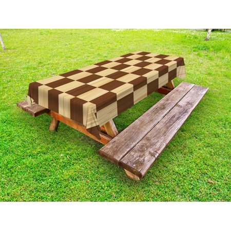 Checkered Outdoor Tablecloth, Empty Checkerboard Wooden Seem Mosaic Texture Image Chess Game Hobby Theme, Decorative Washable Fabric Picnic Table Cloth, 58 X 84 Inches,Brown Pale Brown, by Ambesonne