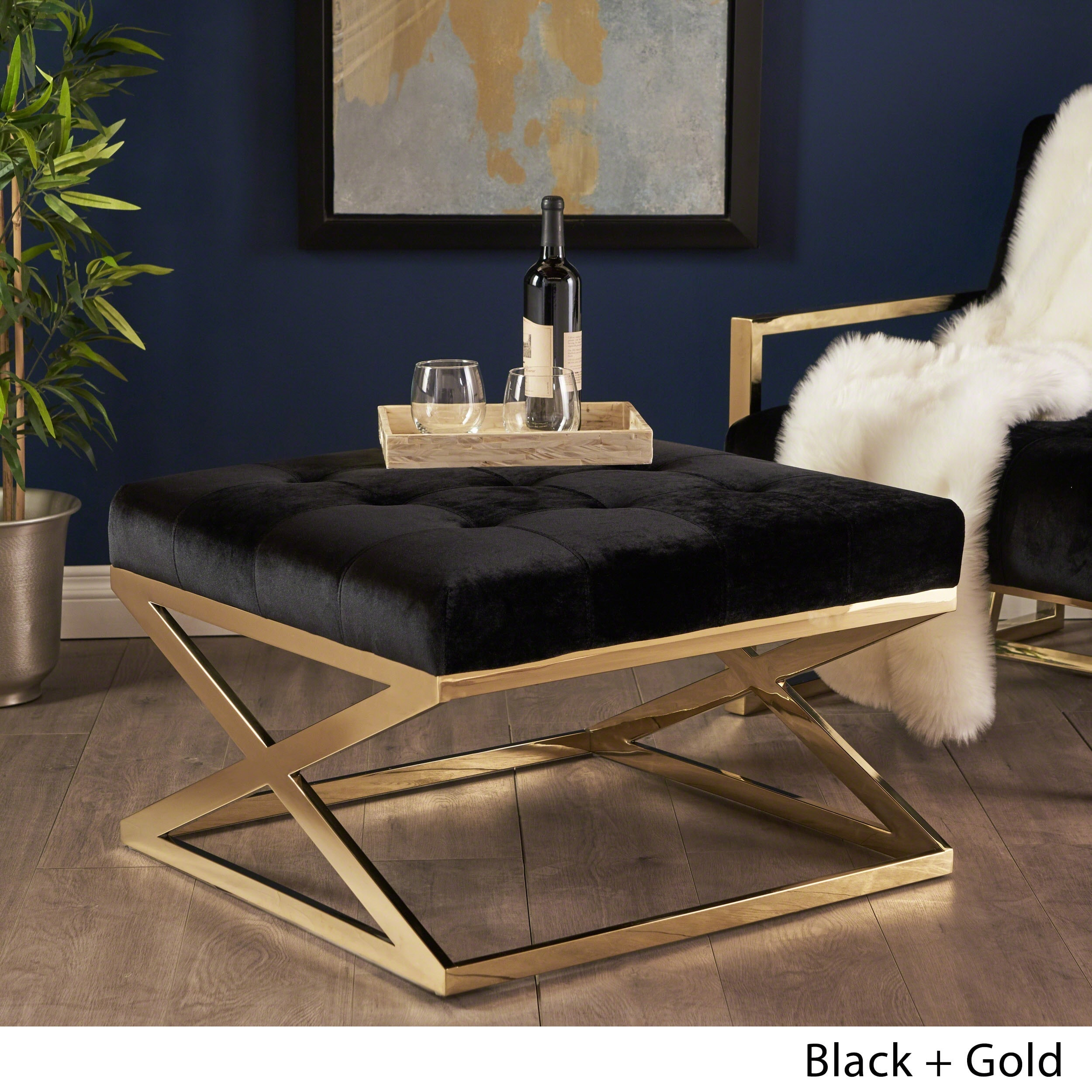 Christopher Knight Home Rayna Modern Square Tufted Velvet Ottoman by