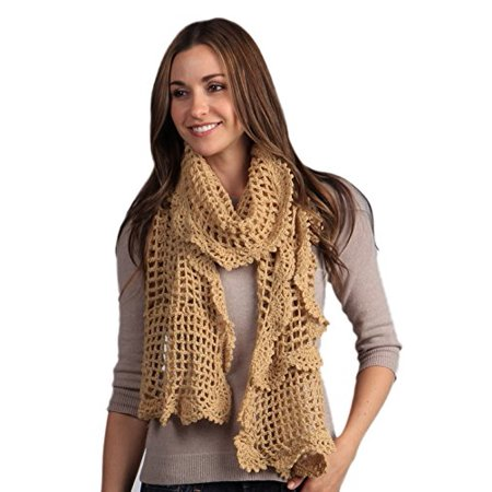 Crochet Ruffle Scarf - StylesIlove Ruffled Crochet Fashion Womens Scarf (Butterscotch)