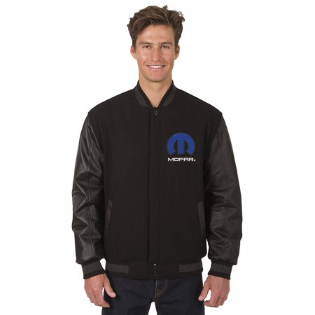 Mens MOPAR Logo Wool & Leather Reversible Jacket with Embroidered Emblems