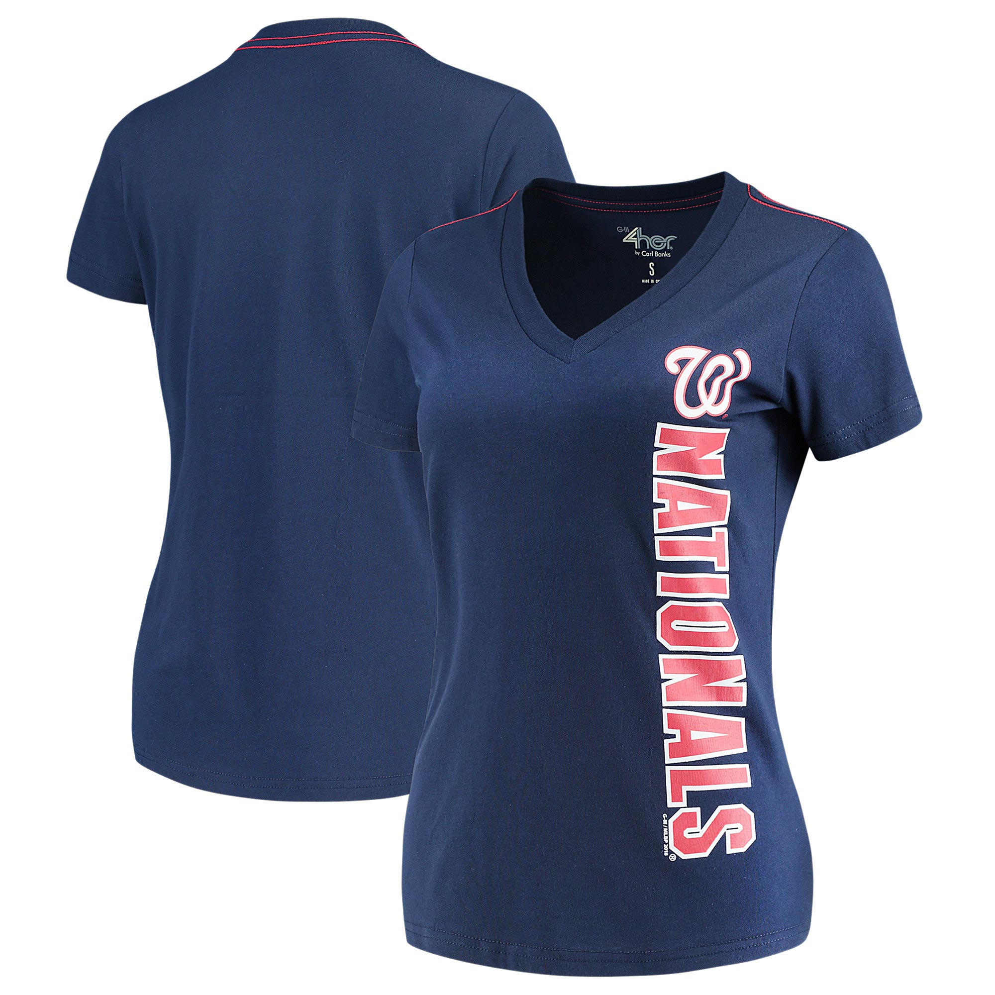 Washington Nationals G-III 4Her by Carl Banks Women's Asterisk V-Neck T-Shirt - Navy