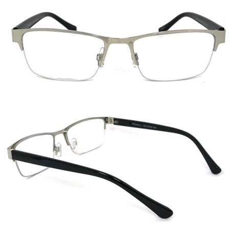 1 Pair Metal Rectangular No Line Progressive Trifocal Clear Lens Reading Glasses - Better Then Bi-Focal bifocal (Yellow Tinted Reading Glasses)