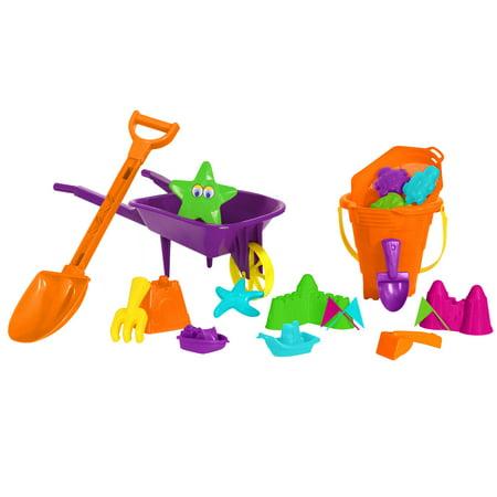 Play Day 20-Piece Wheelbarrow or Wagon Sand Play Set, Assorted Colors