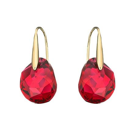 a70c2efff Swarovski - Swarovski Red Crystal Jewelry GALET Pierced Earrings Yellow  Gold #5110575 - Walmart.com