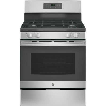 JGB645SEKSS 30 Freestanding Gas Range with 5 Cu. Ft. Oven Capacity Precise Simmer Burner Electronic Touchpad Self-Clean Oven 4 Sealed Burners and Sabbath Mode: Stainless