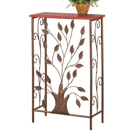- Iron Tree & Scroll Brown Wood Top Small Entryway Table for Hallway, Foyer, Mudroom