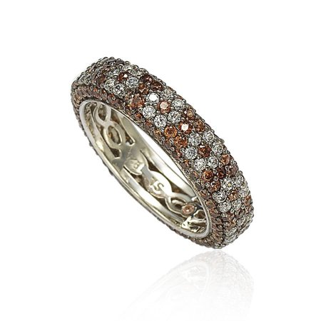 Sterling Silver Cubic Zirconia Brown and White Flower Eternity Band