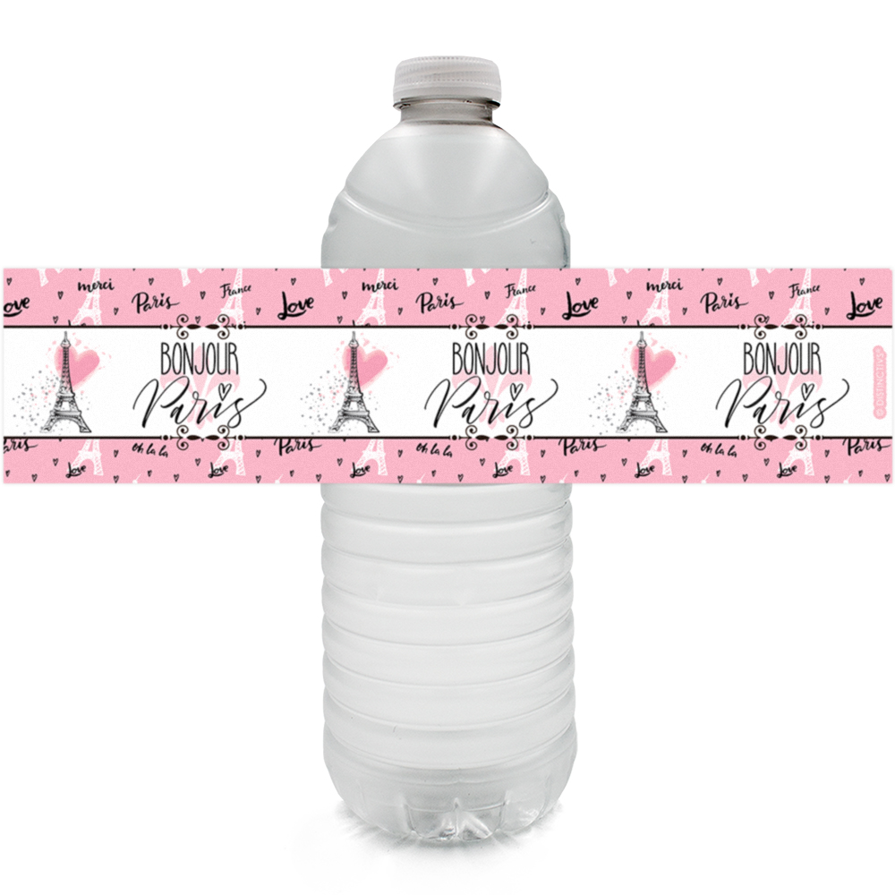 Paris Party Water Bottle Labels 24 count - Pink Paris Party Theme Decorations Eiffel Tower Party Favors for Girls Birthday Party Supplies - 24 Count Sticker Labels