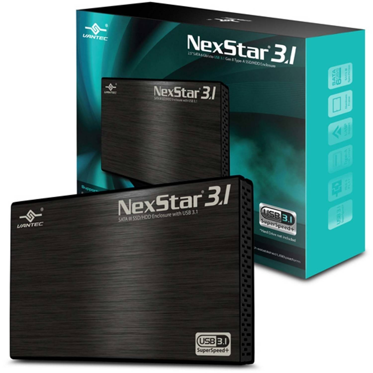 """Vantec NST-270A31-BK 2.5"""" SATA 6GBps to USB 3.1 Gen II Type-A SSD or HDD Enclosure, Black"""