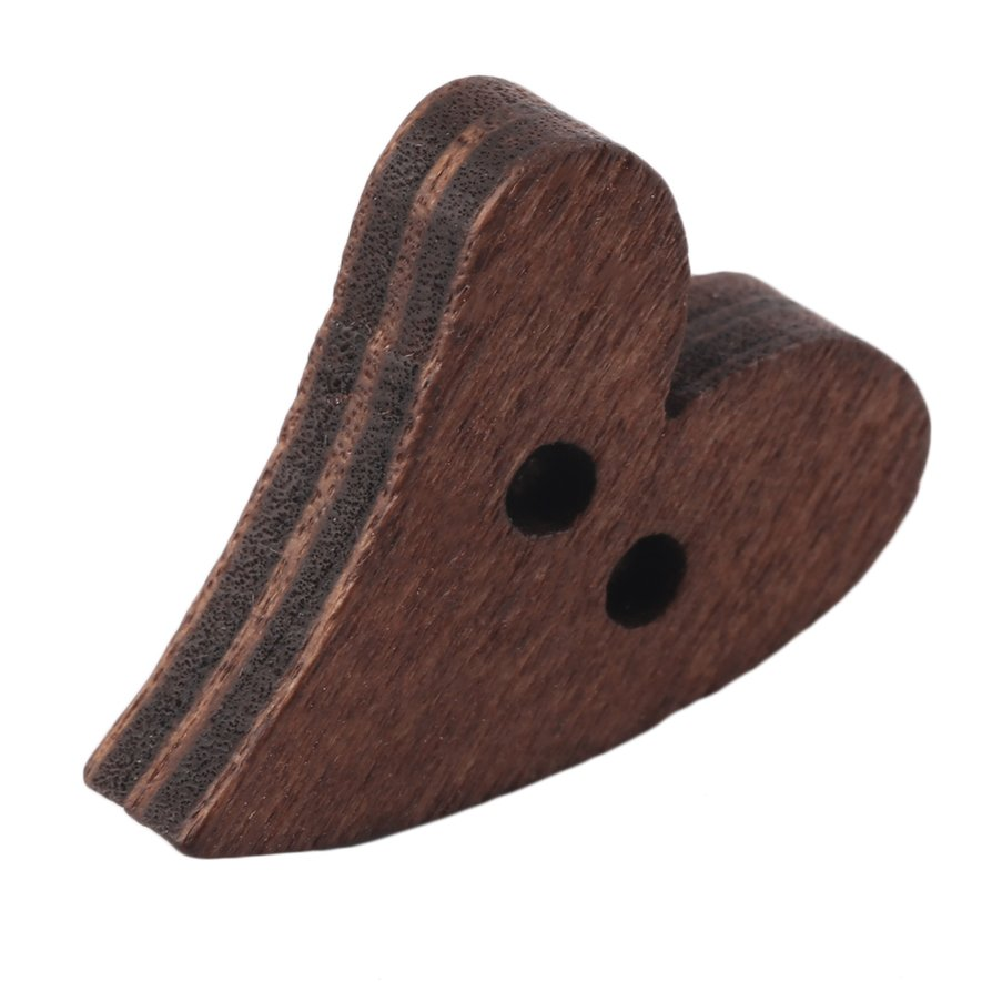 New 1Pc Brown Wooden Sewing Heart Shape Button Craft Scrapbooking 19x17mm