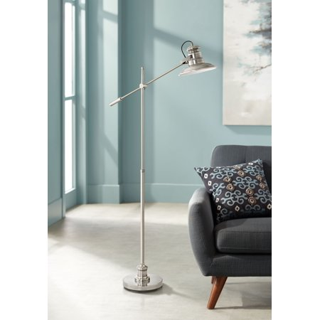 360 Lighting Modern Pharmacy Floor Lamp Satin Nickel Adjustable Boom Arm Step Switch for Living Room Reading Bedroom Office (Boom Arm Floor Lamp)