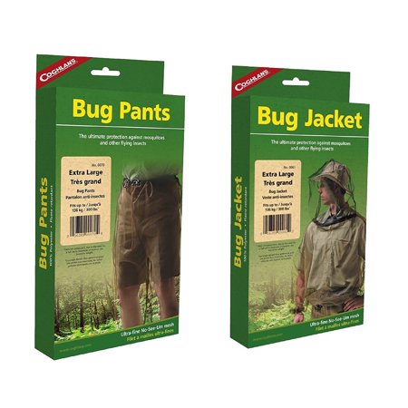 Coghlan's Bug Suit Pants & Jacket X-Large Black Unisex Lightweight Mosquito Net, Fine No-See-Um mesh, By Coghlans