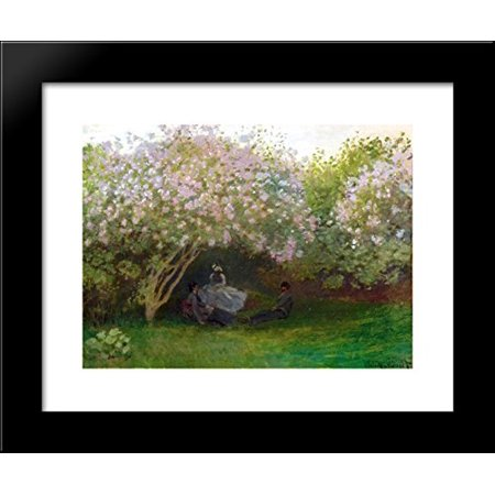 Lilacs, Grey Weather 20x24 Framed Art Print by Monet, Claude Weathered Frame Art