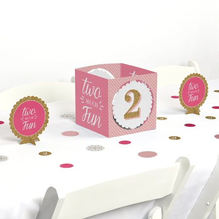Two Much Fun - Girl - 2nd Birthday Party Centerpiece & Table Decoration Kit - Birthday Decorations For Girls