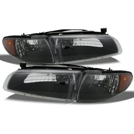 Fit 1997-03 Grand Prix Black Replacement Headlights w/Amber Corner Signal (Pontiac Grand Prix Corner Light)