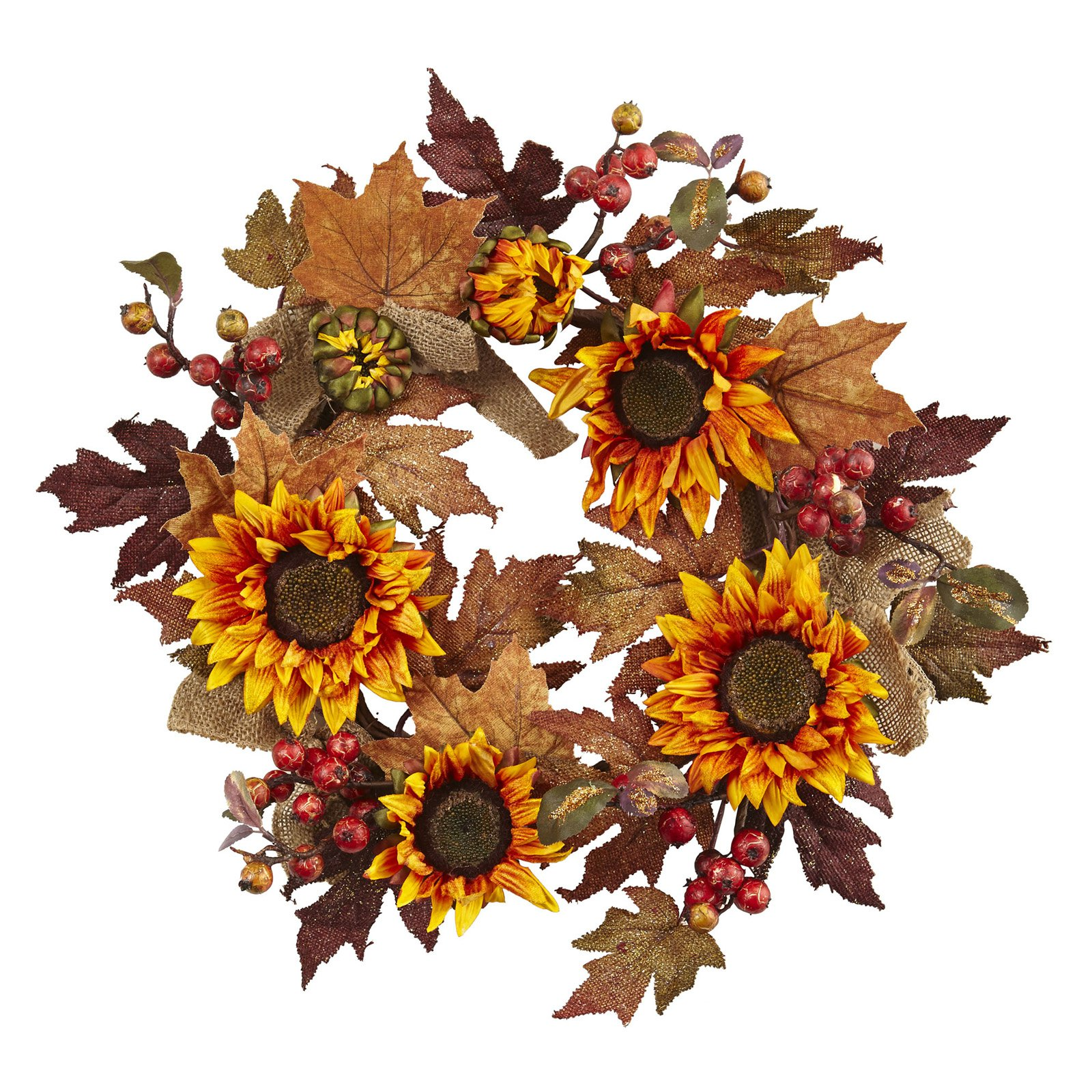 Nearly Natural 24 in. Sunflower and Berry Wreath