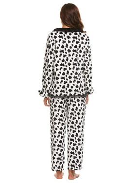 Women Maternity Two Pieces Plush Pajamas Set Long Sleeve Top and Long Pants RllYE
