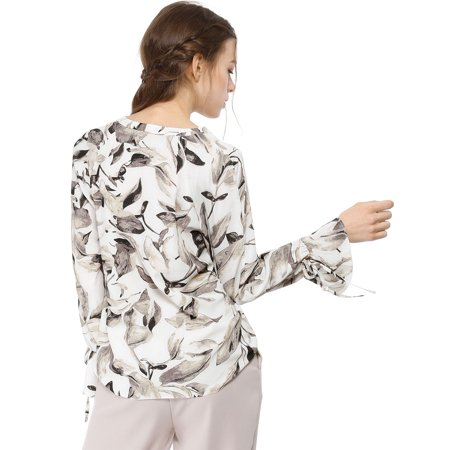 Unique Bargains Women's Bell Long Sleeves Leaves Blouse Tops Off White XL - image 3 of 6