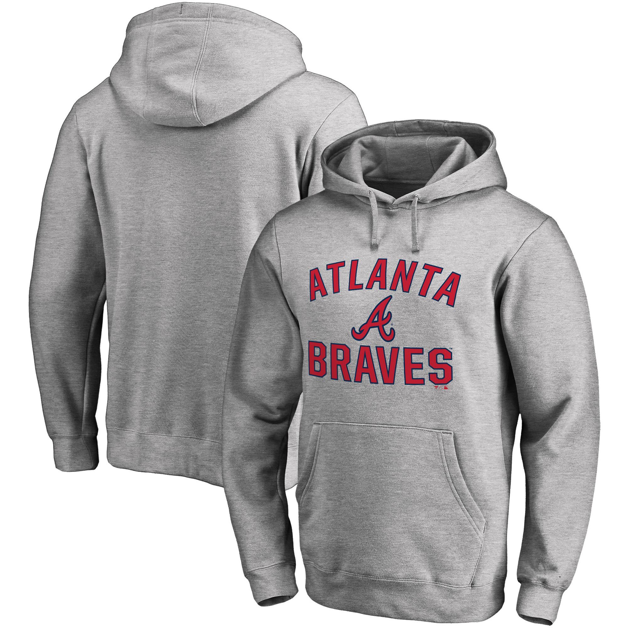 Atlanta Braves Fanatics Branded Victory Arch Pullover Hoodie - Heathered Gray