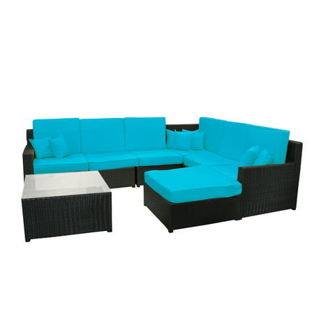 8-Piece Black Resin Wicker Outdoor Furniture Sectional Sofa, Table and Ottoman Set - Blue Cushions