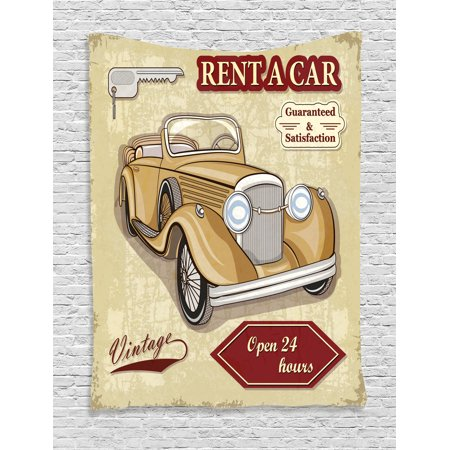 Vintage Tapestry Wall Hanging Vintage Car Rentals Commercial Illustration Print With Keys Original Dated Auto Objects Design  Bedroom Living Room Dorm  Tan Red  By Ambesonne
