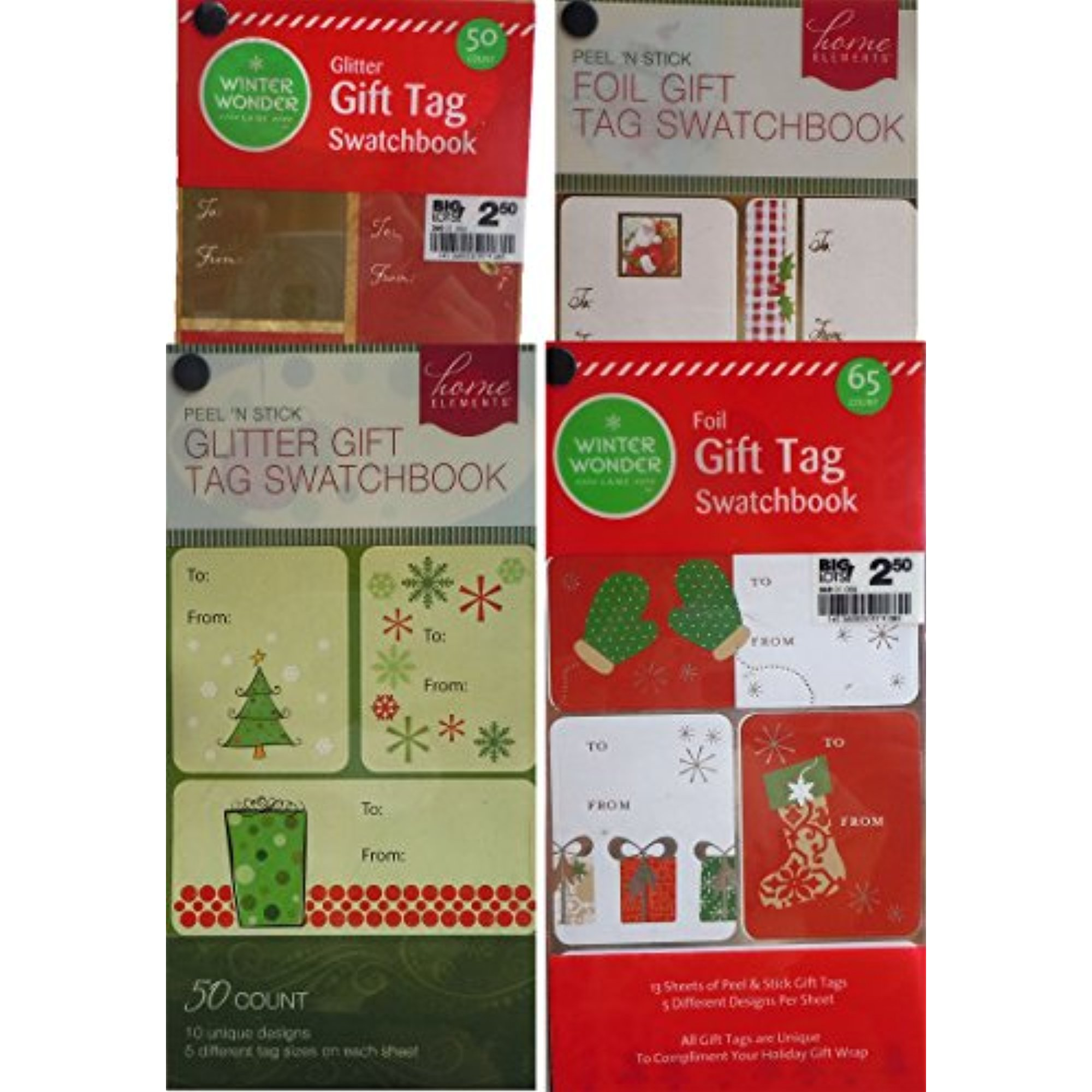 Foil and Glitter Christmas Gift Tags Swatchbooks Set of 4