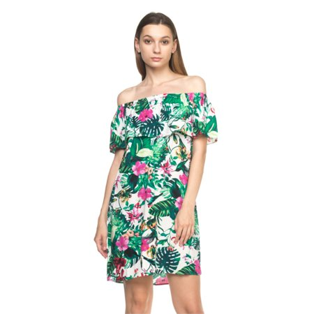 7f4c21955e OFASHIONUSA - OFASHIONUSA Women's Tropical Off The Shoulder Dress (Ivory,  Medium) - Walmart.com