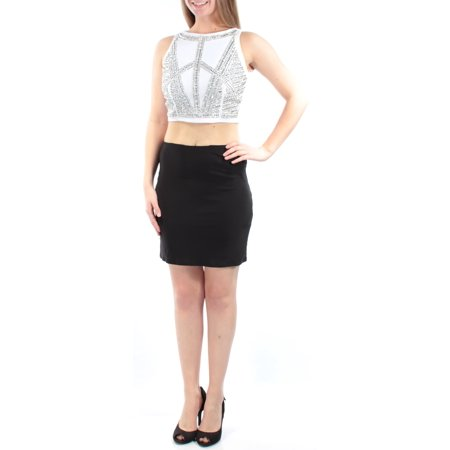 JUMP Womens Black Rhinestone 2 PIECE Sleeveless Jewel Neck Mini Body Con Party Dress  Size: 11