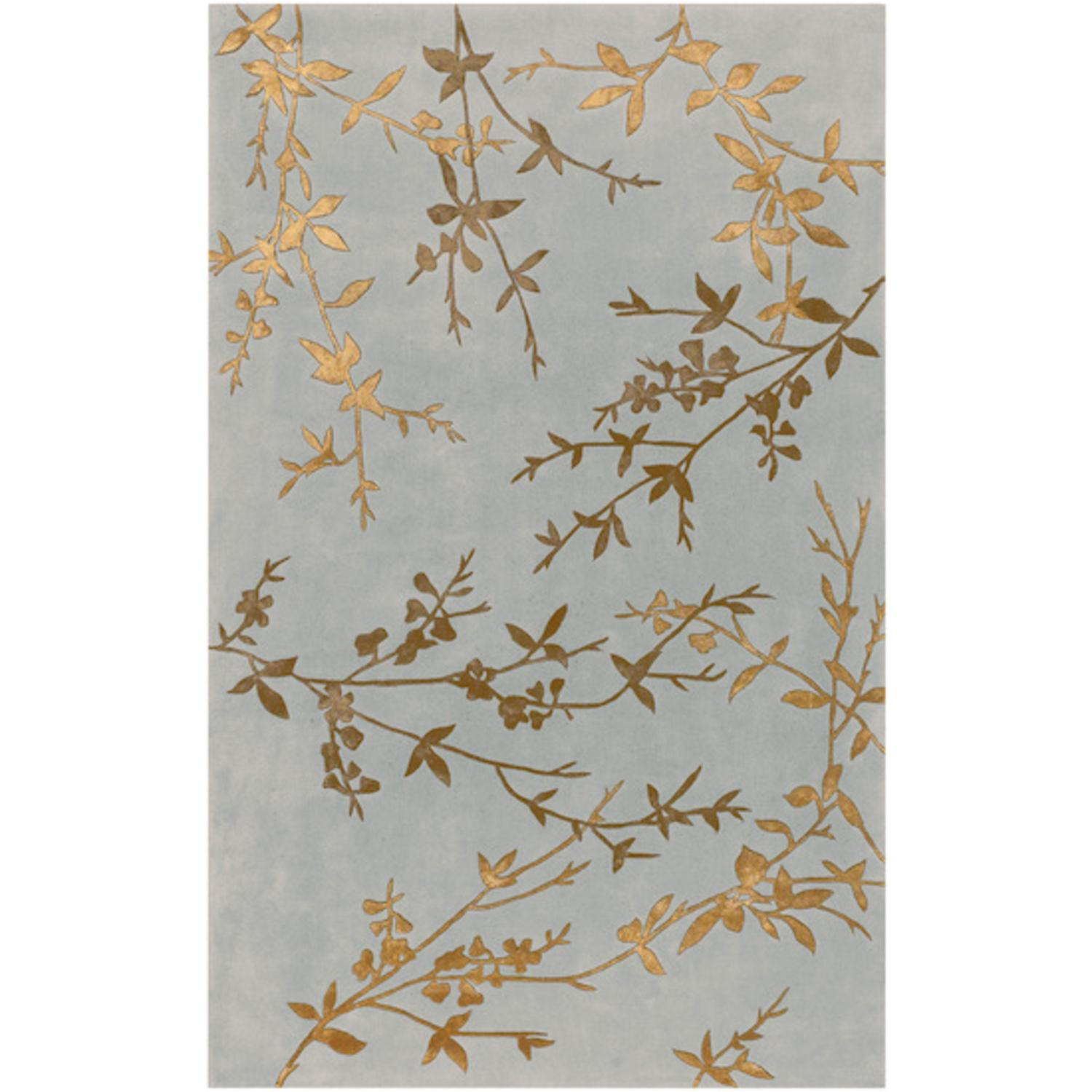 2' x 3' Asian Winter Branch Slate Gray and Gold Wool Area Throw Rug