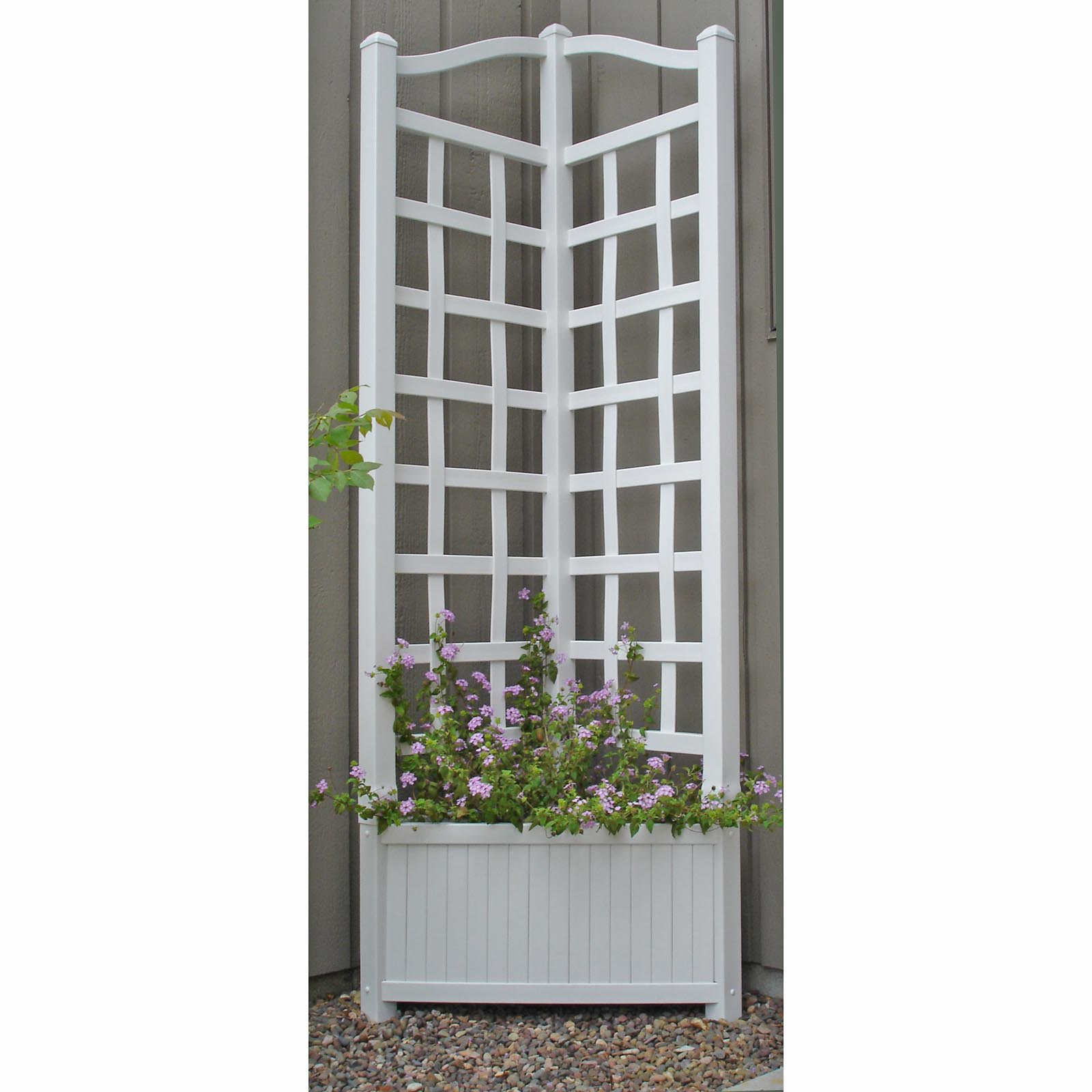5.5-Foot Outdoor Triangle Vinyl Oxford Corner Planter with Trellis by Dura-Trel Inc