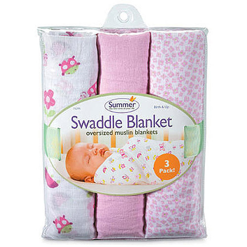 Summer Infant  Muslin SwaddleMe Blanket ,Girl Bugs and Butterflies Multi-Colored