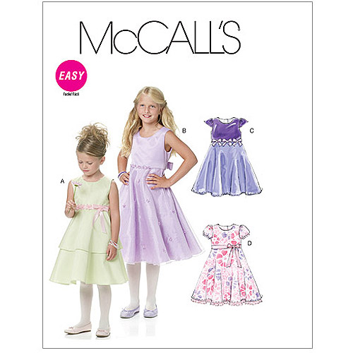 McCall's Children's and Girls' Lined Dresses, CCE (3, 4, 5, 6)