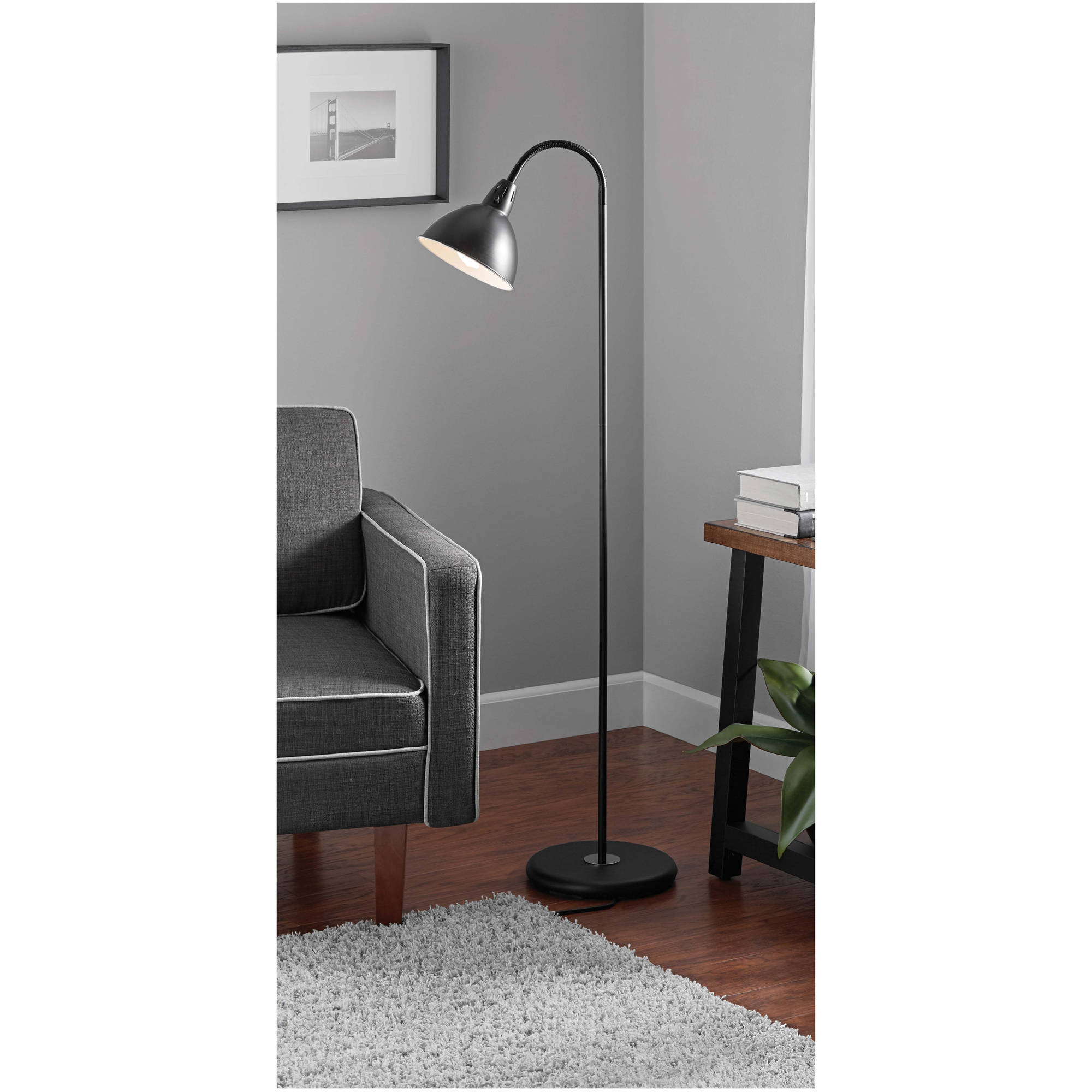Floor lamps mainstays black gooseneck floor lamp jameslax Image collections