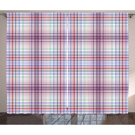 Checkered Curtains 2 Panels Set, Thin Geometric Strips Retro Folkloric Irish Cultural Design, Window Drapes for Living Room Bedroom, 108W X 63L Inches, Pale Pink Violet Blue Turquoise, by Ambesonne