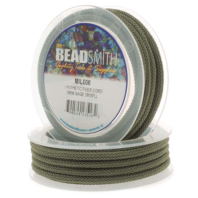 BeadSmith Braided Synthetic Fiber Cord 4mm - Sage Green (2 Meter Spool)