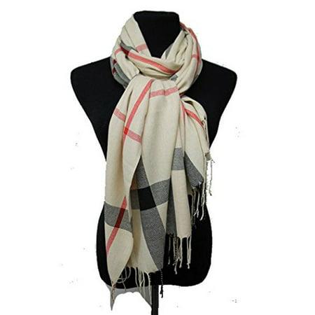 Fashion Secrets Classic Plaid Softness Oblong Scarf Wrap Shawl With Fray Trimming (Beige)