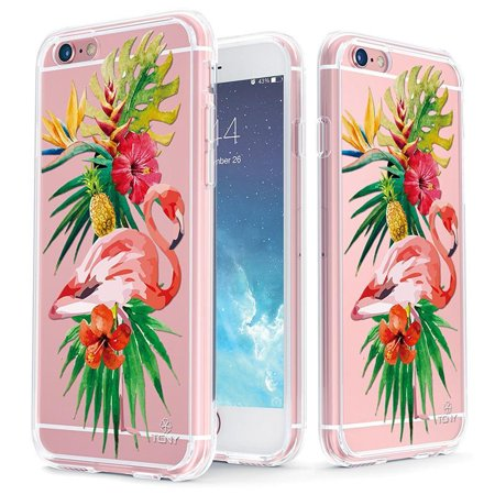 Stock Protection (iPhone 6s Case - True Color Clear-Shield Tropical Flamingo Printed on Clear Back - Soft and Hard Thin Shock Absorbing Dustproof Full Protection Bumper Cover)