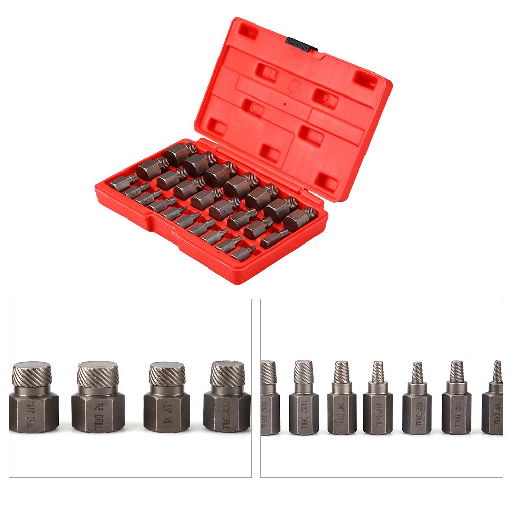 HERCHR Screw Extractor, Extractor Set, Multi Spline Screw Extractor Set 25pcs Sturdy Designed Tools for Studs Bolts Removal, Bolt Extractor, 25-piece Screw Extractor Set
