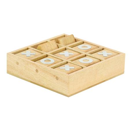 Decmode 3 x 10 inch rustic décor mango wood and aluminum tic tac toe decorative box, light brown