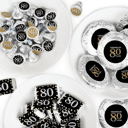 80 Th Birthday Ideas (Adult 80th Birthday - Gold - Mini Candy Bar Wrappers, Round Candy Stickers and Circle Stickers - Birthday Party Candy Favor Sticker Kit - 304)