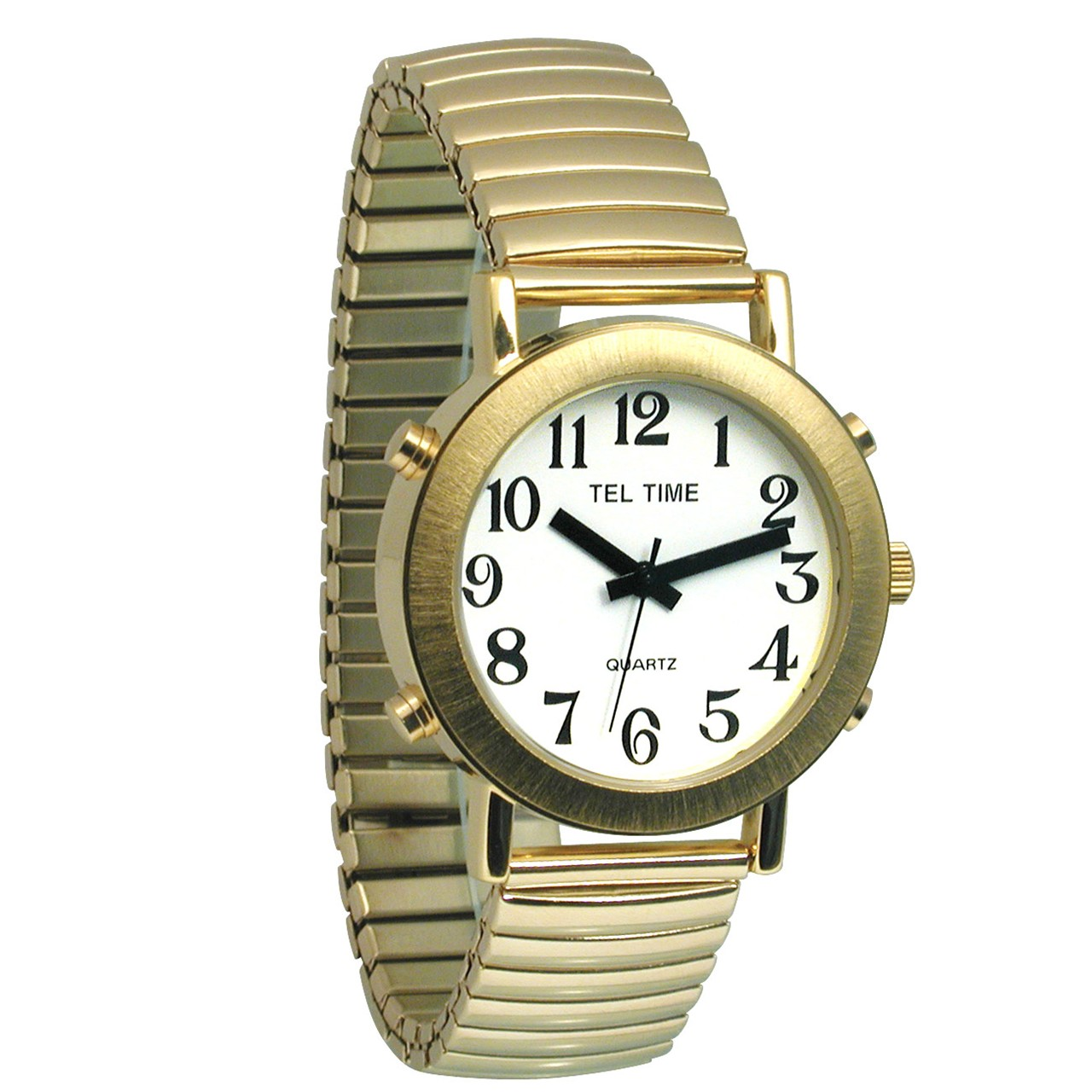Mens Tel-Time Gold-Tone-Colored Talking Watch with White ...