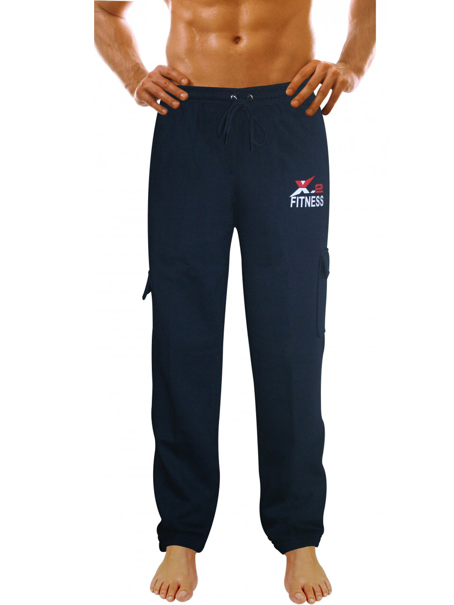X-2 Men's Fleece Active Joggers Sweatpants Tracksuit Running Athletic Pants 5 Pockets Navy XXL
