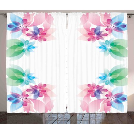 Exquisite Bedroom - Flower Curtains 2 Panels Set, Abstract Petals with Digital Hazy Reflections Bridal Buds Exquisite French Style Pattern, Window Drapes for Living Room Bedroom, 108W X 84L Inches, Multi, by Ambesonne