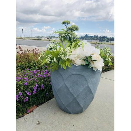 DurX-litecrete Lightweight Concrete Modern Retro Round Slate Gray Planter -Large
