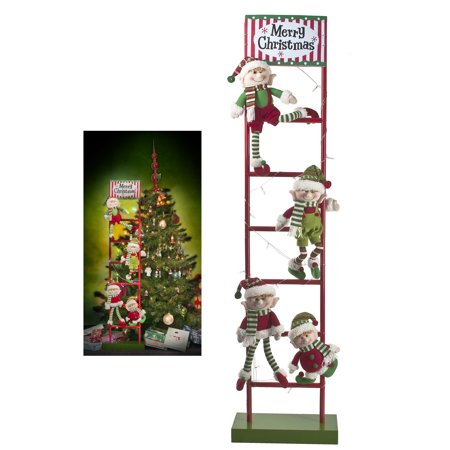 decorative christmas ladder with four climbing elves by ganz