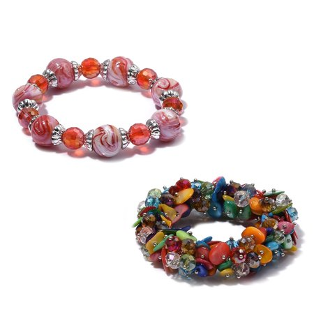 Women's Multi Color Glass Shell Set of 2 Strand Bead Bracelet Jewelry Cttw -