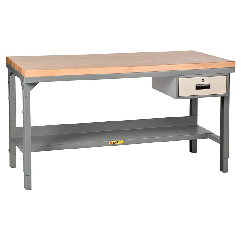 Little Giant Butcher Block Top Workbench with Drawer - Adjustable - 48W x 24D x 28.75-42.75H in.