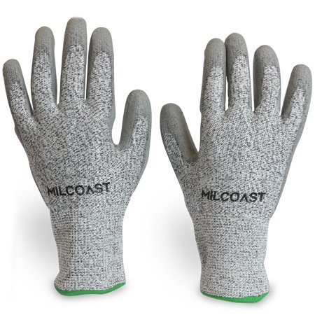 Milcoast Level 5 Cut Resistant Gloves - Polyurethane Palm Coated for Cutting, Kitchen, Garden, Work and Handling - Pack of 3 Pairs (Medium)